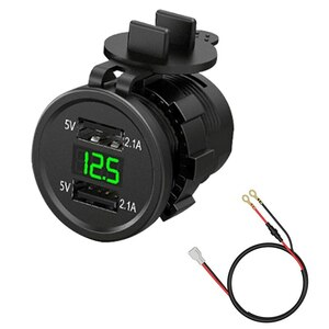 新品 12V-24V デュアルUSB ポート シガーライターソケット 充電器 LED デジタル電圧計 モニター 緑 バイク アクセサリー パーツ