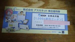 アスカネット 株主優待 オリジナルフォトブック 割引クーポン 1000円分