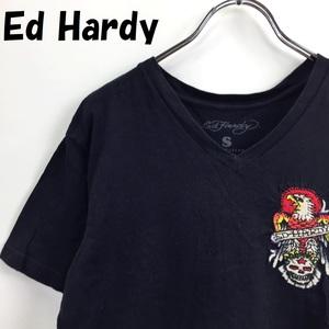 【人気】Ed Hardy/エドハーディー Vネック 半袖Tシャツ 刺繍 コットン100% USA製 ブラック サイズS/S2486