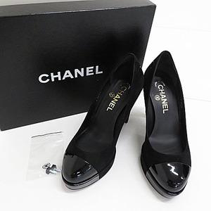 【即決】CHANEL シャネル スエード ヒールパンプス G27920 ココマーク 箱付き ブラック系 サイズ36 レディース 靴 [W3997]