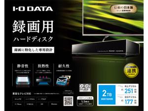 アウトレット品・送料無料 IO-DATA テレビ録画/パソコン対応 USB3.0 外付け ハードディスク 2TB AVHD-UTB2