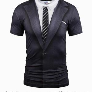 サラリーマン スーツ 正装風 Tシャツ メンズ コスプレ グッズ (XXL)