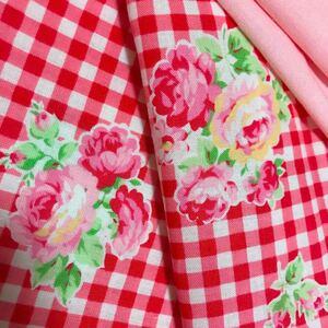 〈380円!最終価格〉小さなハギレセット LECIEN ルシアン Flower sugar/ピンク 無地