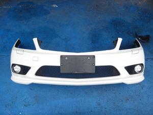 メルセデス ベンツ W204 C200 等 前期 純正 AMG フロント バンパー フォグ付き 650U/ホワイト [4193]