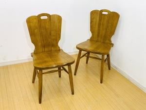 名古屋市 karimoku カリモク チェア 2脚セット 椅子 ダイニング オーク材 木製 無垢 D5036 カントリー