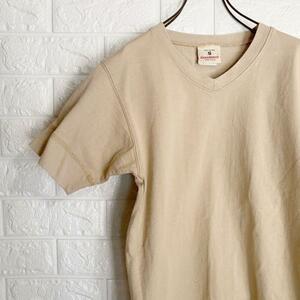 【送料210円】メンズ サイズS アメリカ製 GOODWEAR グッドウェア リブ付き 半袖 Tシャツ ベージュ 定価7,040円 古着 Vネック