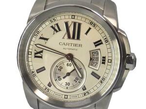 カルティエ カリブル W7100015 メンズ 自動巻き シースルーバック Cartier 保証書・説明書付