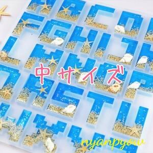 中サイズ アルファベットのシリコンモールド 新品 レジン 粘土