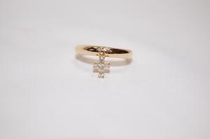 ヴァンドーム青山 VENDOME K18 ダイヤモンド クロスチャーム 十字架 リング 指輪 サイズ約11号 レディスリング