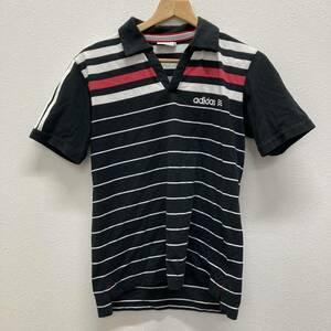 使用感有 adidas GOLF アディダス ゴルフ ポロシャツ ゴルフウェア 半袖 メンズ M/Mサイズ ボーダー ネイビー