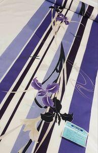 在庫品 ナカノヒロミチ【hiromichi nakano】ゆかた反物 縦絽風の 本染高級生地 紫 菖蒲柄 教材 リメイク生地 未仕立て 日本製