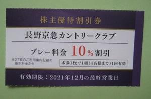長野京急カントリークラブ プレー料金 10% 割引券 1組4名まで可 12月最終営業日迄