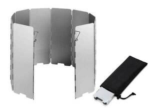 アウトドア アルミ製 ウィンドスクリーン 防風板 風除板 10枚プレート 収納袋付き