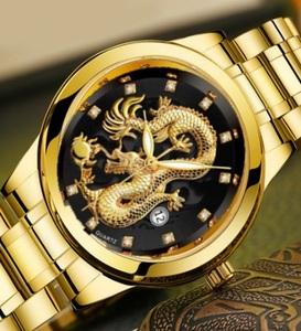 2021ゴールド ドラゴンウォッチ 龍 金運UP昇り龍!メンズ腕時計bk
