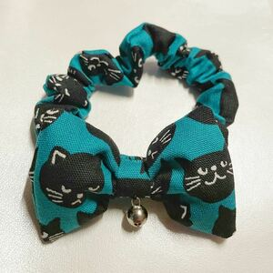 猫用 首輪 シュシュ 気まぐれ黒猫グリーン