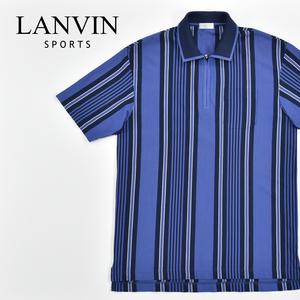 送料300円│LANVIN SPORTS ランバン ★ 日本製 ストライプ 半袖 ポケット ポロシャツ ハーフジップ ブルー メンズ 50 LLサイズ相当