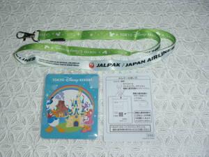 ① 限定 非売品【JAL 東京ディズニーリゾート】パスポートホルダー ネックストラップ 緑 日本航空 ディズニーランド ディズニーシー