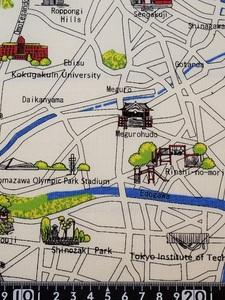 ★新品★USAコットン★布地★生地★東京の地図柄★