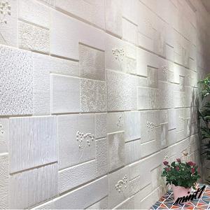 【優しい雰囲気の空間に】 3D リメイクシート レンガ調 70cm×70cm 5枚入り 簡単 DIY 模様替え アクセントクロス ホワイト 花弁