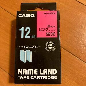 ネームランド 蛍光色テープ XR-12FPK 12mm (蛍光ピンク・黒文字)