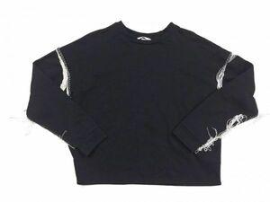 H&M エイチアンドエム ウエスタン フリンジ装飾 長袖スウェットシャツ トレーナー カットソー レディース コットン ポリエステル混合 M 黒