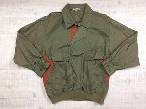 ORORA レトロ古着 ボーダー ニット切替 プルオーバー ブルゾン ジャケット 薄手 メンズ 日本製 綿100% M カーキ