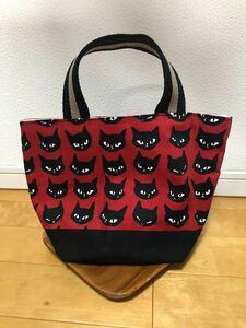 ハンドメイド トートバッグ【猫柄】赤色