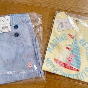 ☆新品 2枚セット ホットビスケッツ ハーフパンツ 半ズボン 半袖 Tシャツ ミキハウス 定価7370 女の子 ショートパンツ