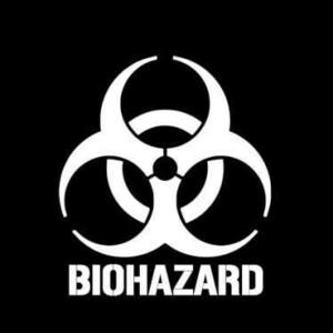 【全13色】カッティングステッカー「BIOHAZARD」横10cm◆バイオハザードマーク 感染症廃棄物 警告 車 バイク トラック かっこいい タンク