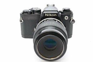 ◆ Nikon ニコン FE + AI Micro-NIKKOR 105mm F4 MF一眼レフ フィルムカメラ 中望遠単焦点レンズ マクロレンズ