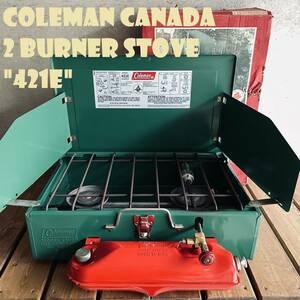 【送料無料】コールマン 421E ツーバーナー コンパクト カナダ製 1970年代製造 ビンテージ ストーブ 2バーナー 希少 美品 箱付き