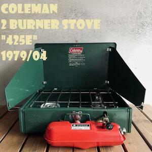 【送料無料】コールマン 425E ツーバーナー 赤タンク コンパクト 1979年4月 ビンテージ ストーブ 70年代 2バーナー COLEMAN キャンプ