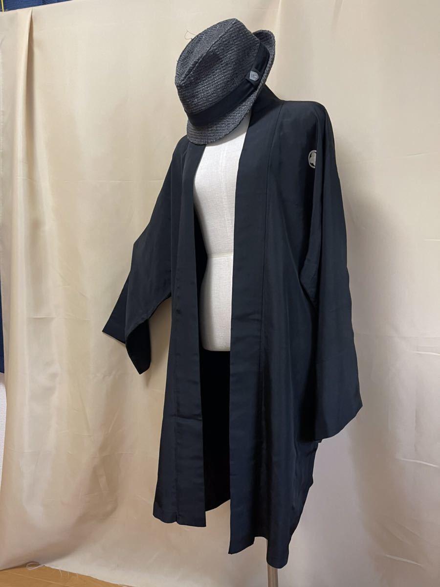 着物リメイク ロングカーディガン羽織トップス 薄手 ハーフコート 作務衣 ハンドメイド 着物和風 家紋入り 着丈97cm e60/8b/10a