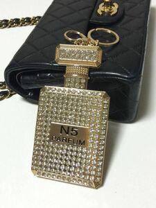 新品◆キーホルダー◆バッグチャーム キーリング付 香水瓶 パフューム ボトル No5 ゴールド キラキラ カワイイ