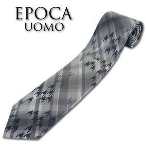 エポカウォモ EPOCA UOMO シルク チェック&ランダム千鳥柄 ネクタイ グレー 新品 正規品 メンズ 日本製