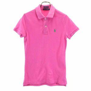 ラルフローレン THE SKINNY POLO ワンポイント刺繍 半袖 ポロシャツ XS ピンク RALPH LAUREN 鹿の子 レディース 210801 メール便可