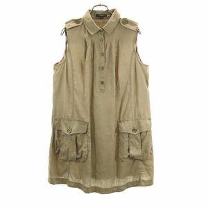 バーバリー リネン ノースリーブチュニックシャツ 44 カーキブラウン BURBERRY 三陽商会 レディース 210813 メール便可