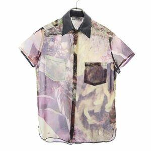ディーゼル 総柄 半袖 シャツ DIESEL シフォン 衿レザー切替 レディース 210823 メール便可