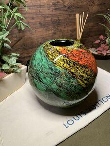 カメイガラス 丸花瓶 壺 花瓶 骨董品 貴重 希少 当時物 釉 即納 アンティーク 置物 花道 習い事 趣味