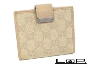 【GUCCI】 グッチ 二つ折り 財布 サイフ コンパクト GG キャンバス ベージュ 0416【A48133】