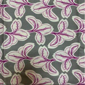 布 生地 芽生え グレー 紫 オックス 芽 ボタニカル 生地 綿