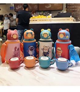 4色から1つ選ぶ水筒 真空断熱 いきなりストローマグセット316ステンレス製魔法瓶ストロー付学生用コップ