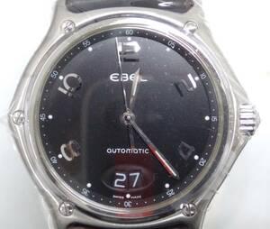 【21年4月OH 仕上げ済み ベルト交換済み】EBEL エベル 9125241 ビッグデイト 自動巻 オートマチック ブラック 時計