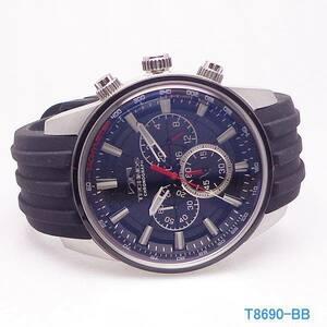 腕時計 ウォッチ テクノス TECHNOS T8690-BB クロノグラフ CHRONOGRAPH シリコン ベルト 送料無料