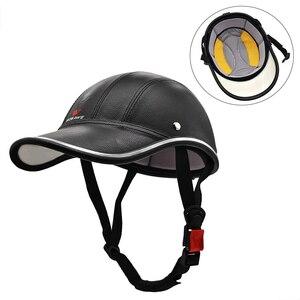 新品 ヘルメット キャップ ハーフフェイス 抗UV ハード PUレザー 安全 帽子 ML315 バイク 保護 アクセサリー