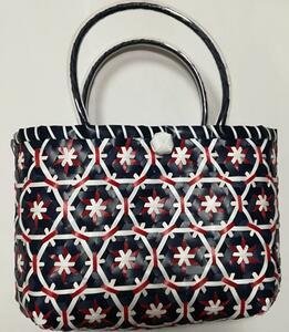 新品 白色 ベトナム雑貨 赤色 模様 ビーチバッグ ベトナム かわいい エコバッグ 紺色 カゴバッグ プラカゴバッグ