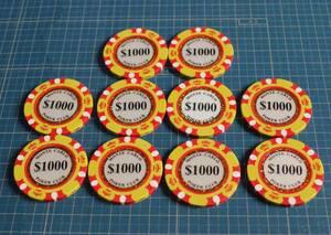 ポーカーチップ Poker chips 千ドル 10枚 MONTE CARLO POKER CLUB カジノチップ ゴルフ ボールマーカー $1000 Golf ball marker
