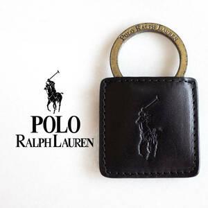 POLO RALPH LAUREN ポロラルフローレン キーリング キーホルダー リング レザー ブラック 黒 牛革 オールド プレイヤーズロゴ