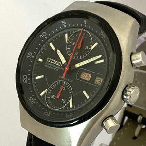1970年代 CITIZEN チャレンジタイマー クロノグラフ Cal.8110A デイデイト 腕時計 メンズ ビンテージ シチズン 黒文字盤 自動巻き