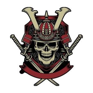 ステッカー サムライ 戦士 交差した刀 デカール ビニール シール アレンジ カスタマイズ 14 ㎝× 13㎝ A1723